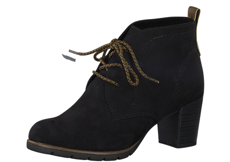 Marco Tozzi - 25107 - Black Heeled Ankle Boot With Contrast Laces