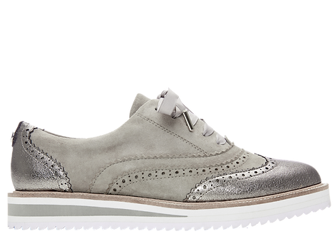 Moda in Pelle - Fellis - Grey Suede, Brogue Style Shoe with Metallic Panels