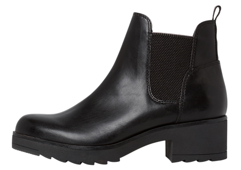 Marco Tozzi 25806 - Black, Block Heeled, Chunky Sole Boot with Elasticated Ankle