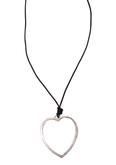 N51107 - Long Silver Heart Necklace