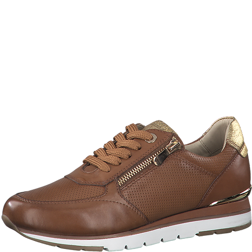 Macro Tozzi - 23757 - Brown Leather Trainers with Gold Zip and Detail