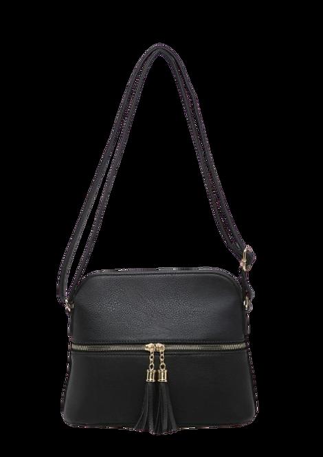 A36636 - Tassel, Crossbody Bag in Black