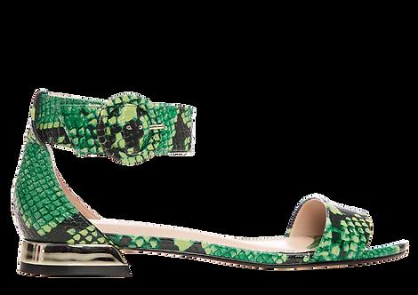 Moda In Pelle - Nivella - Green Leather Snakeskin Sandal