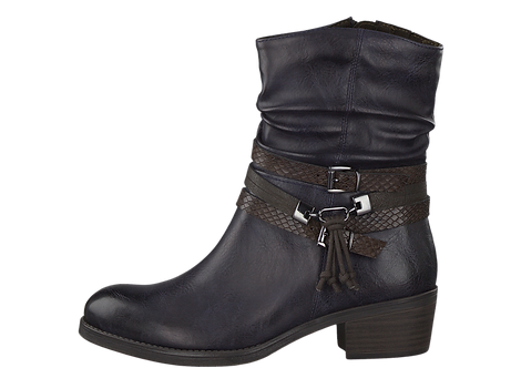 Marco Tozzi - 25316 - Navy Boot With Wrap Around Ankle Straps