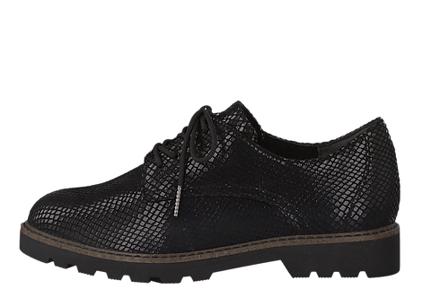 Tamaris - 23635 - Black, Reptile Effect, Lace Up Shoe