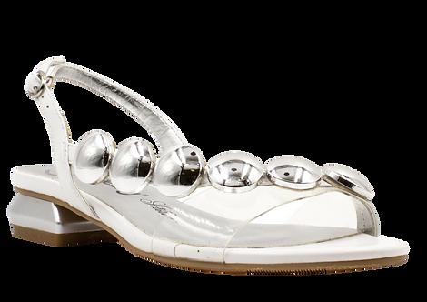 Betsy - 907021 - White / Silver Circles Sandal