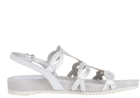 Tamaris - 28103 - Silver Crackle Flat Sandal