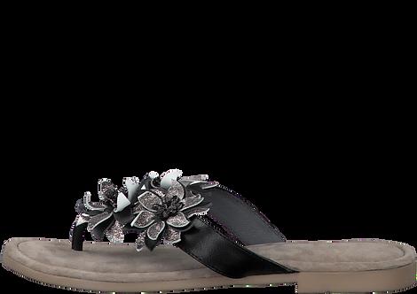 Marco Tozzi - 27111 - Black / Silver Flower Toe Post Sandal