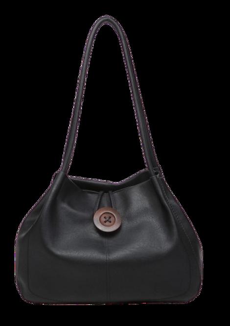 Z-9820 - Black Button Shoulder Bag