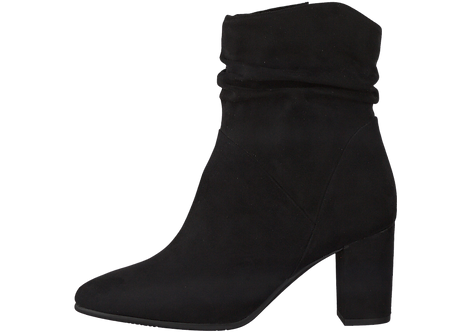 Marco Tozzi - 25307 - Black Heeled Suede Effect Boot With Ankle Gathering