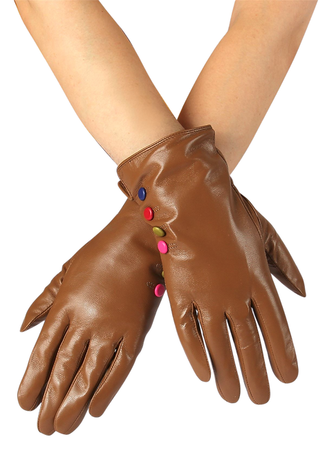 549 - Leather, Coloured Button Gloves
