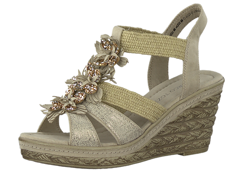 Marco Tozzi - 28302 - Nude Wedge with Flower Embellished Front