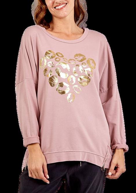 033 - Metallic Heart Lips Zip Detail Sweatshirt