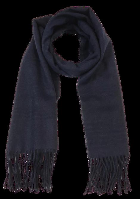519 - Navy Wool Tassle Scarf
