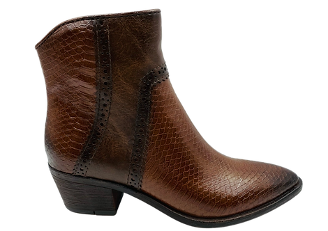 Marco Tozzi - 25381 - Brown, Leather, Reptile Effect Ankle Boot