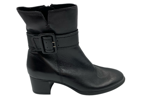 Marco Tozzi - 25367 - Black, Leather, Black Heeled Boot with Buckle