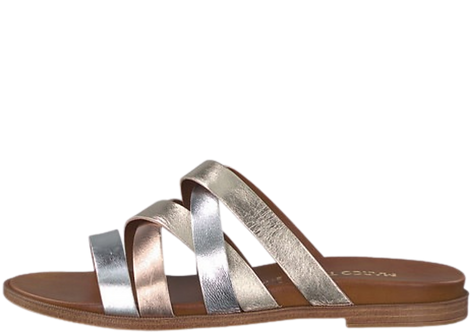Marco Tozzi - 27124 - Leather, Gold, Silver and Bronze Crossover Sandals