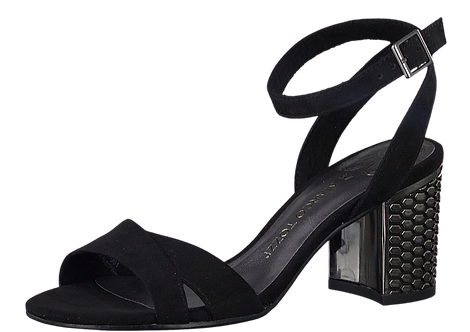 Marco Tozzi - 28322 - Black Crossover Sandal With Textured Pewter Heel