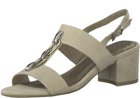 Marco Tozzi - 28312 - Nude, Heeled Sandal with Link Detail