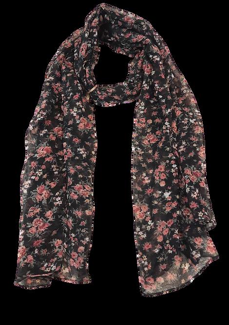 5012 - Black Ditsy Floral Scarf