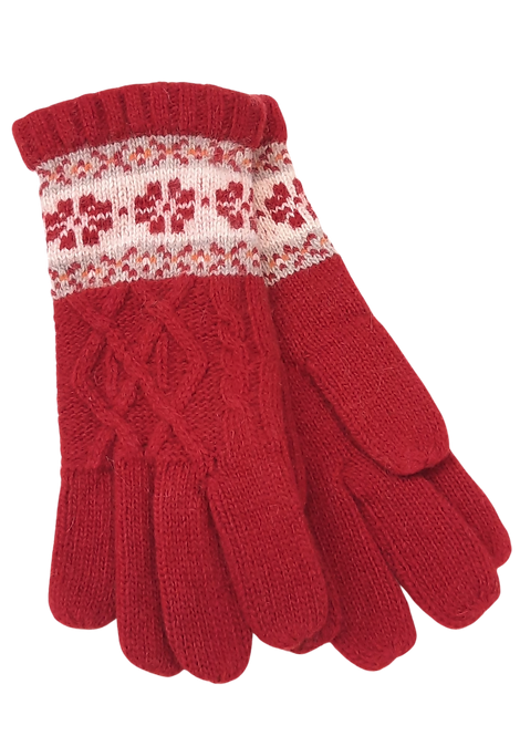 5025 - Red Wool Winter Pattern Gloves