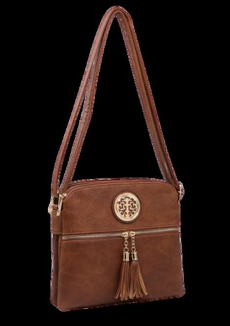 A34742-W - Brown Crossbody Bag with Tassels