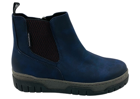 Marco Tozzi Earth Edition - 25874 - Blue, Flat Boot with Elasticated Ankle Panel