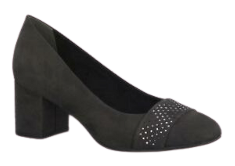 Marco Tozzi - 22430 - Heeled, Grey Court Shoe with Diamante Detail