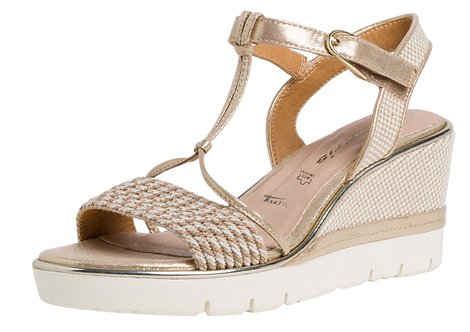 Tamaris - 28315 - Light Gold Wedge With Rope Detail Front