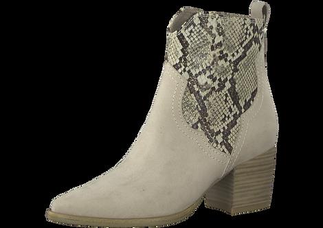 Marco Tozzi - 25353 - Block Heel Cream Boot with Snakeskin Panel