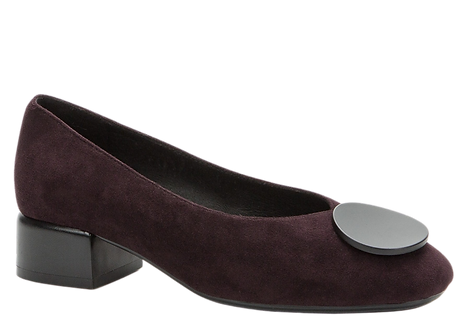 Betsy - 908010 - Violet, Block Heeled Court Shoe with Circle