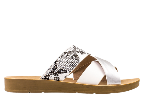 Betsy - 907757 - Cross Over Sandal with Reptile Print Strap
