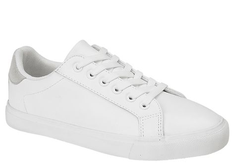 Havana White Lace Up Trainers with Silver Heel