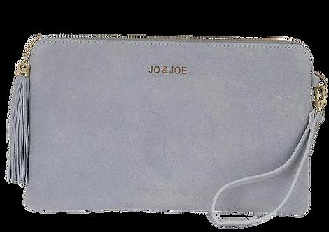 Kate Suede Tassel Clutch Bag in Baby Blue