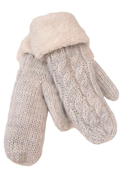 5002 - Sparkly, Cable Knit Grey / Silver Mittens