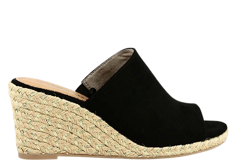 Tamaris - 27225 - Black Mule with Espadrille Style Wedge