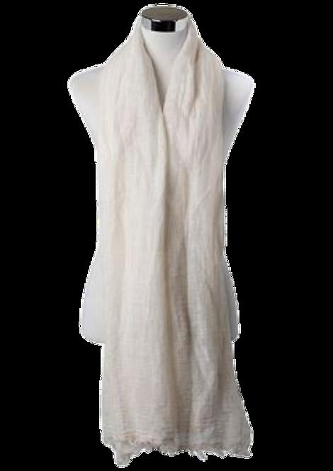 556 - Cream Casual Plain Frayed Linen Scarf