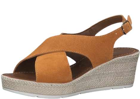 Marco Tozzi - 28343 - Leather Crossover Wedge in Mango