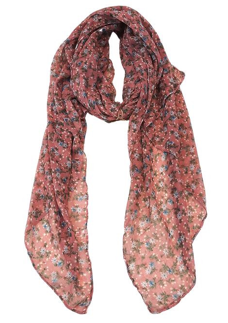 5013 - Pink Ditsy Floral Scarf