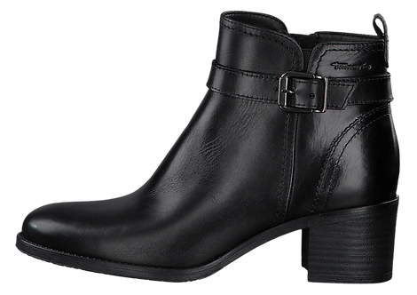 Tamaris - 25034 - Black Leather Ankle Boot With Ankle Buckle