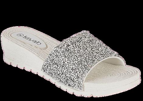 LS2878 - Glitter Mule - White
