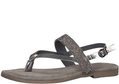 Marco Tozzi - 28125 - Pewter Toe Post Sandal With Diamante Detail