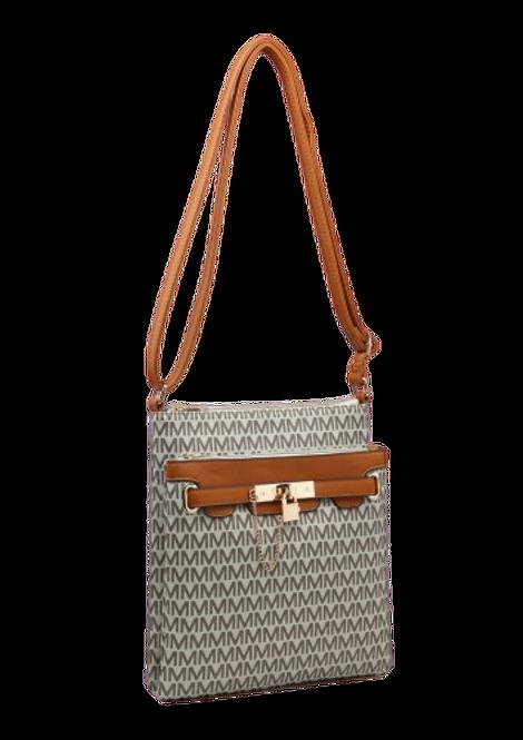 Z-9946 - Coffee / Patterned Crossbody Bag with Padlock