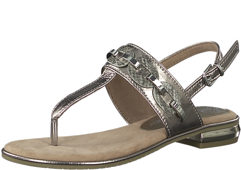 Marco Tozzi - 28102 - Pewter, Link, Toe Post Sandal and Ankle Fastening