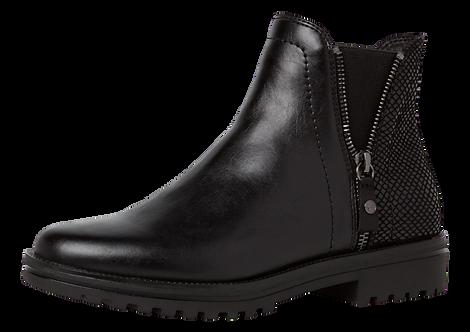 Tamaris - 25403 - Black Ankle Boot With Open Zip