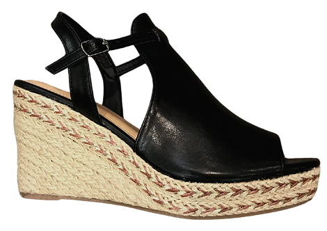 Betsy - 917714 - Black Peep Toe Wedge
