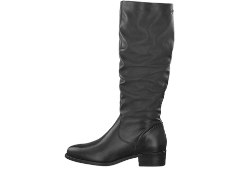 Tamaris - 25535 - Black, Leather Knee Boot with Ruched Middle