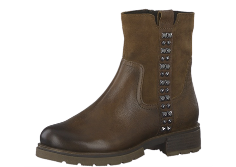 Macro Tozzi - 25430 -Brown Leather Ankle Boot with Stud Detail