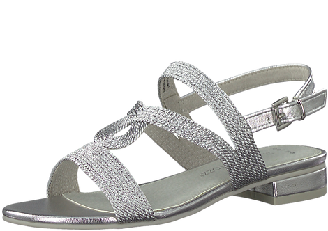 Marco Tozzi - 28185 - Silver Low Block Heeled Sandal