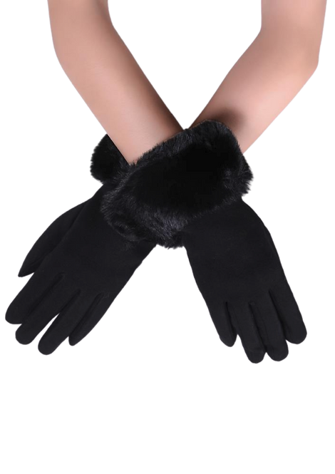 550 - Faux Fur Trim, Touchscreen Gloves